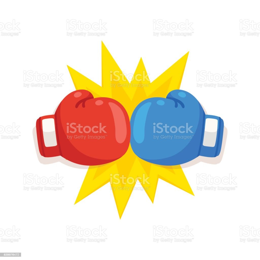 Boxing gloves fight icon vector art illustration