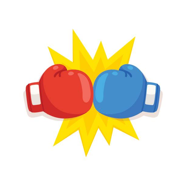 boxing gloves fight icon - boxing gloves stock illustrations, clip art, cartoons, & icons