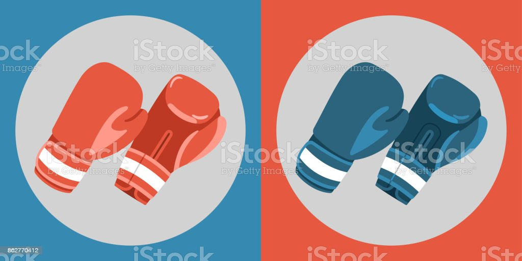 Boxing gloves icon. Color boxing gloves on a blue and red background. Sports Equipment. Vector Illustration. vector art illustration