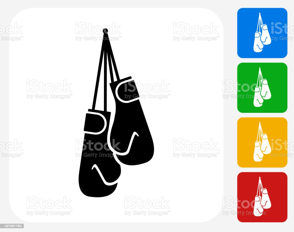 Boxing Gloves Icon Flat Graphic Design vector art illustration