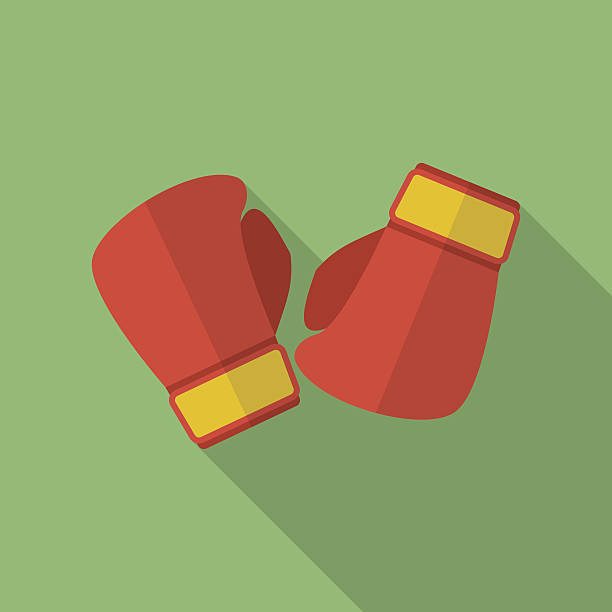boxing gloves icon. modern flat style with a long shadow - boxing gloves stock illustrations, clip art, cartoons, & icons