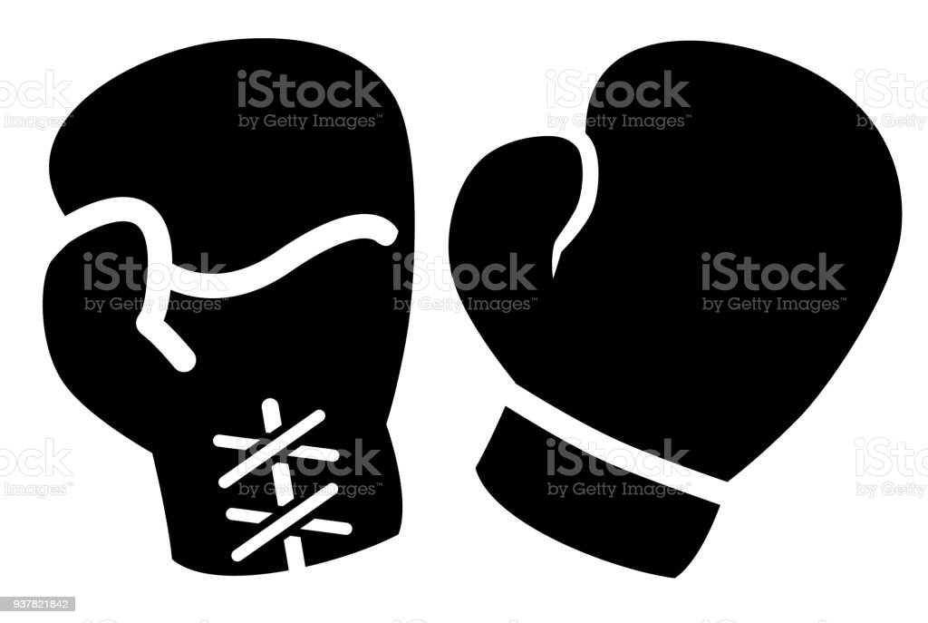 boxing gloves icon vector art illustration