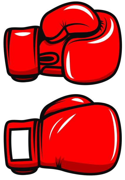 stockillustraties, clipart, cartoons en iconen met bokshandschoenen geïsoleerd op een witte achtergrond. ontwerpelement voor poster, badge, embleem, label. vectorillustratie - punch