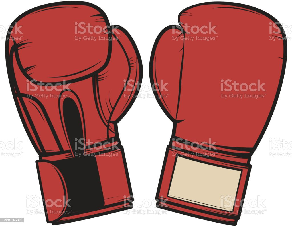 Boxing gloves isolated on white background. Design element vector art illustration