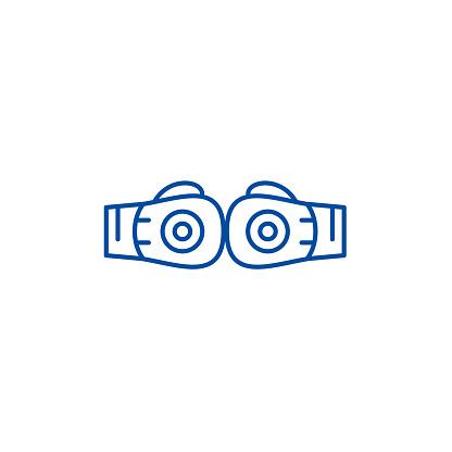 Boxing gloves line icon concept. Boxing gloves flat  vector symbol, sign, outline illustration.