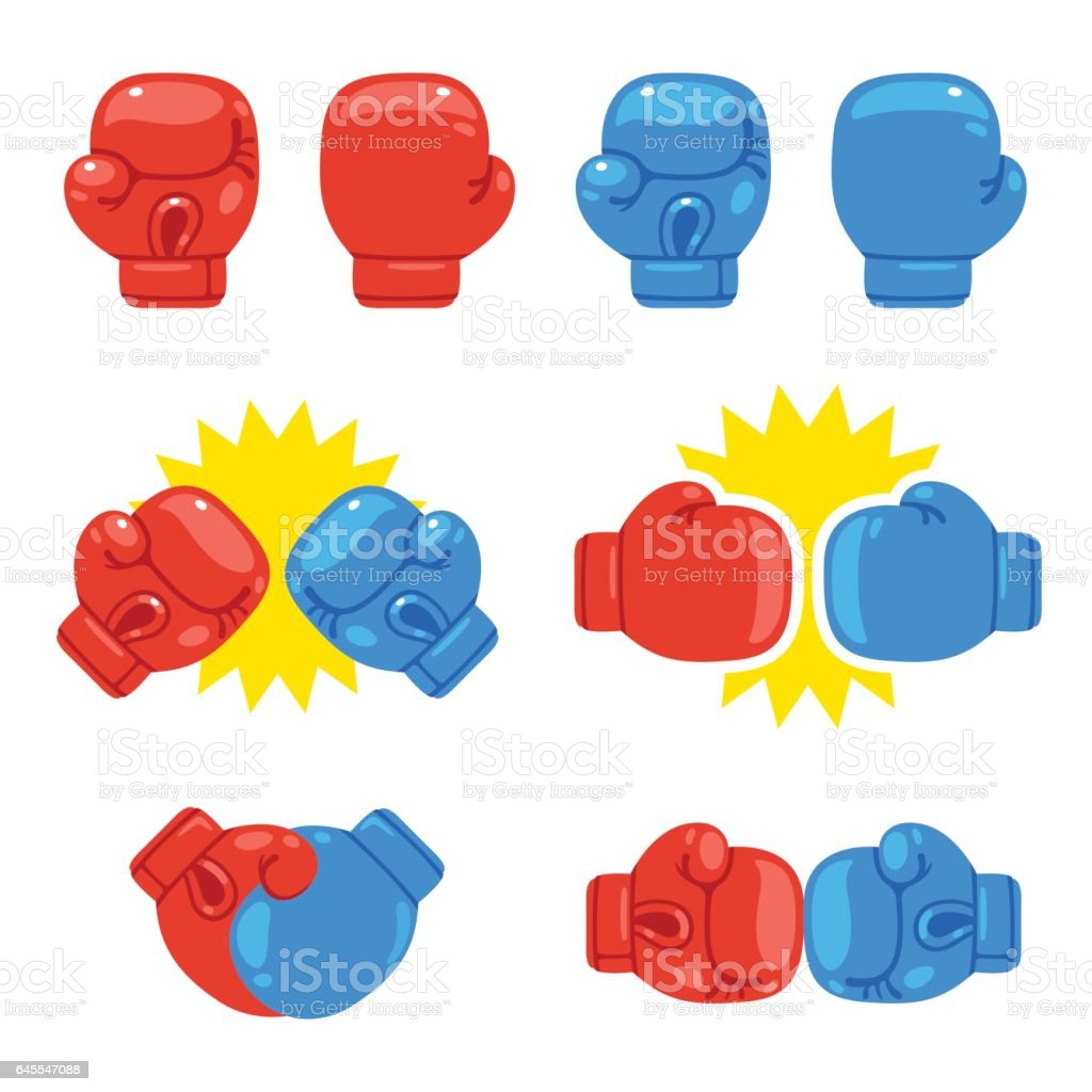 Boxing gloves set vector art illustration