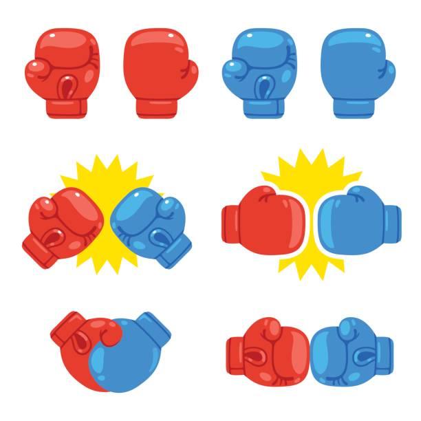 stockillustraties, clipart, cartoons en iconen met bokshandschoenen instellen - punch