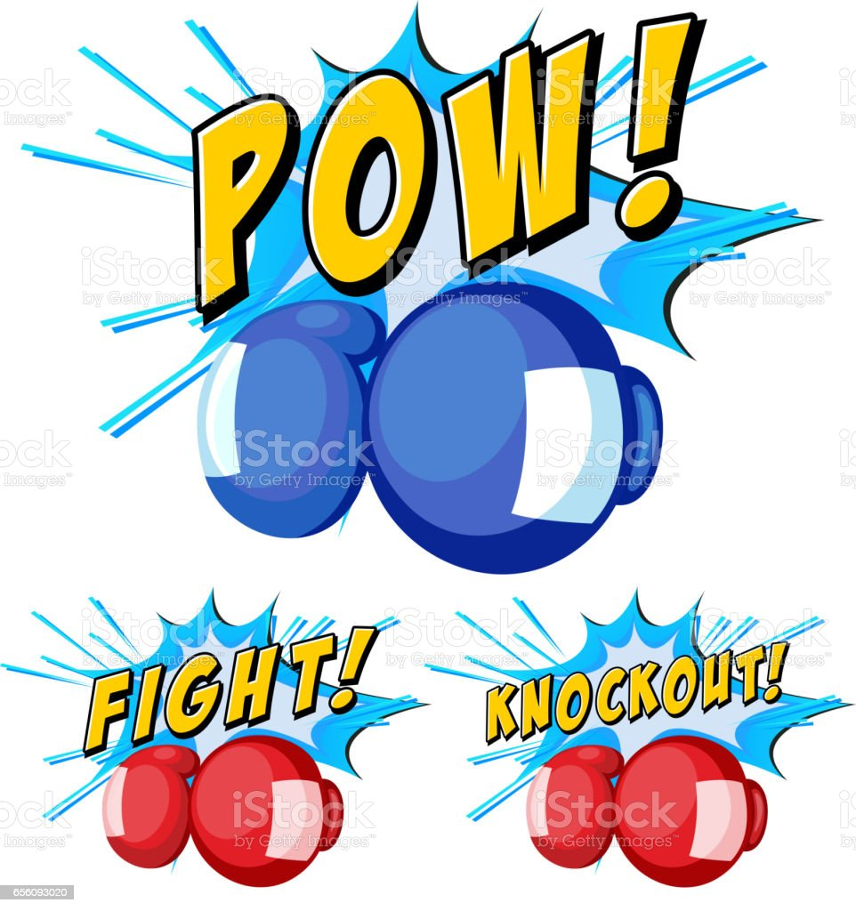 Boxing gloves with three word expressions vector art illustration