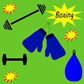 Boxing gym objects.