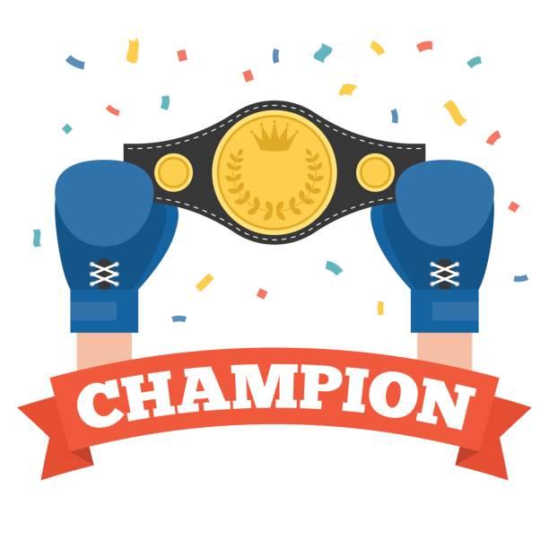 boxing holding championship belt with champion alphabet on red ribbon vector art illustration