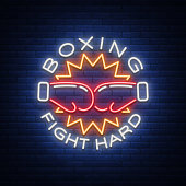 Boxing icon, neon sign emblem is isolated. Vector illustration on sport, boxing. The sign is lit, the bright night banner, the neon advertising of the sports boxing club