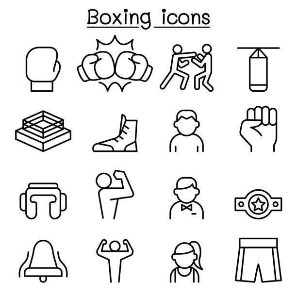 Boxing icon set in thin line style vector art illustration