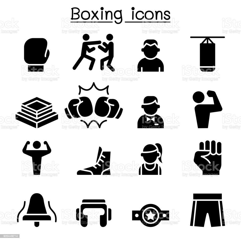 Boxing icon set vector art illustration