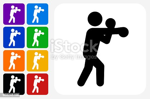 Boxing Icon Square Button Set. The icon is in black on a white square with rounded corners. The are eight alternative button options on the left in purple, blue, navy, green, orange, yellow, black and red colors. The icon is in white against these vibrant backgrounds. The illustration is flat and will work well both online and in print.