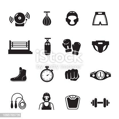 Boxing icon, Set of 16 editable filled, Simple clearly defined shapes in one color.