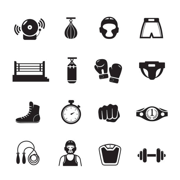 boxing icon - boxing gloves stock illustrations, clip art, cartoons, & icons