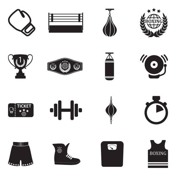 Boxing Icons. Black Flat Design. Vector Illustration. vector art illustration
