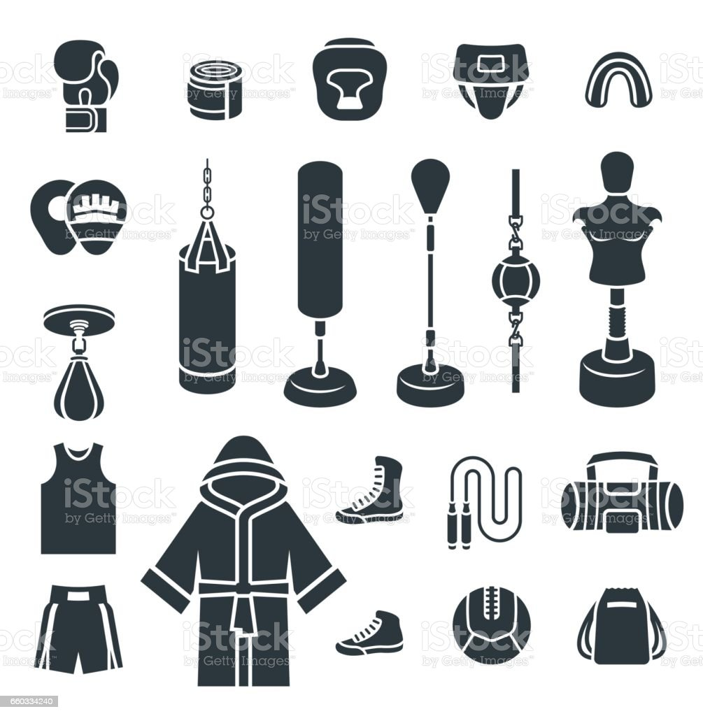 Boxing icons flat vector silhouettes icons vector art illustration