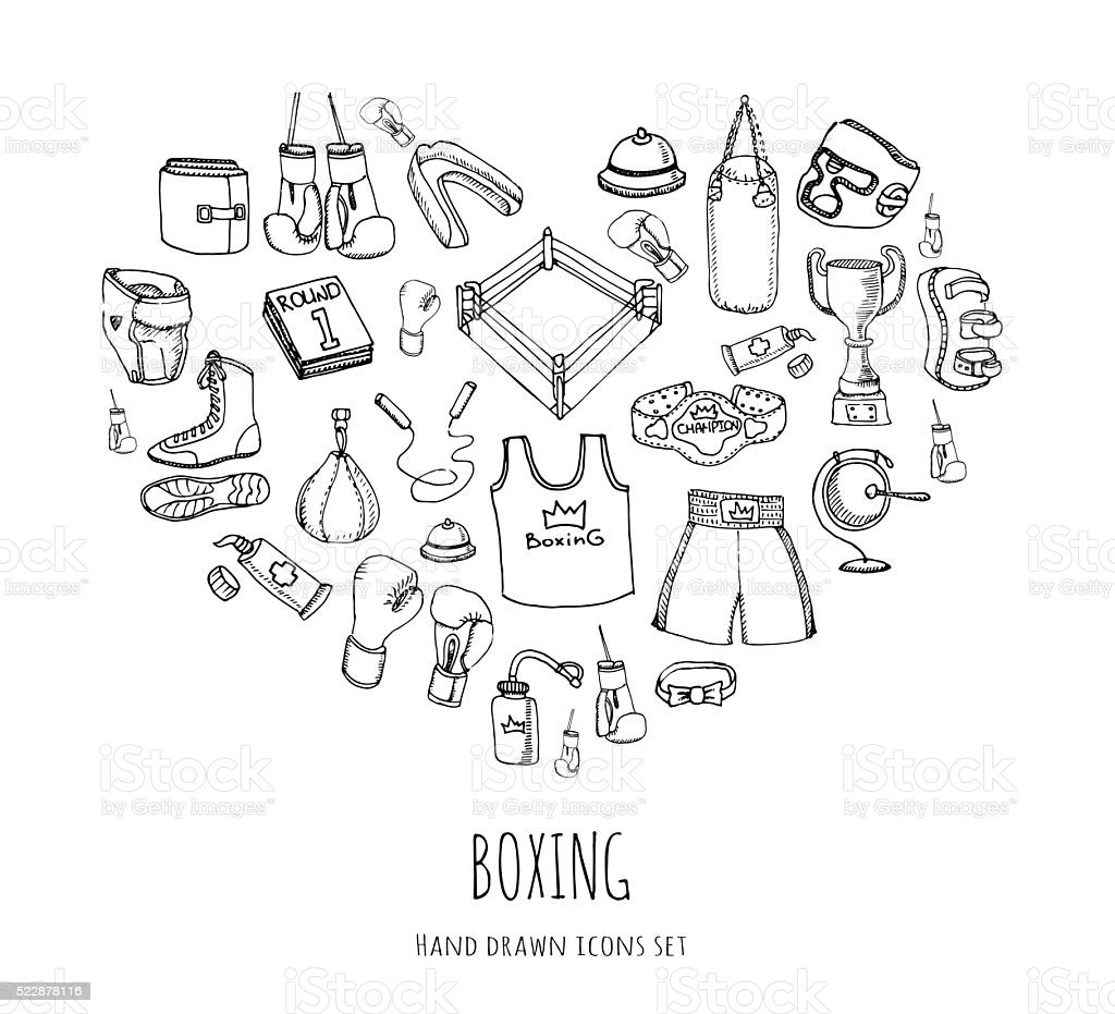 Boxing icons set vector art illustration
