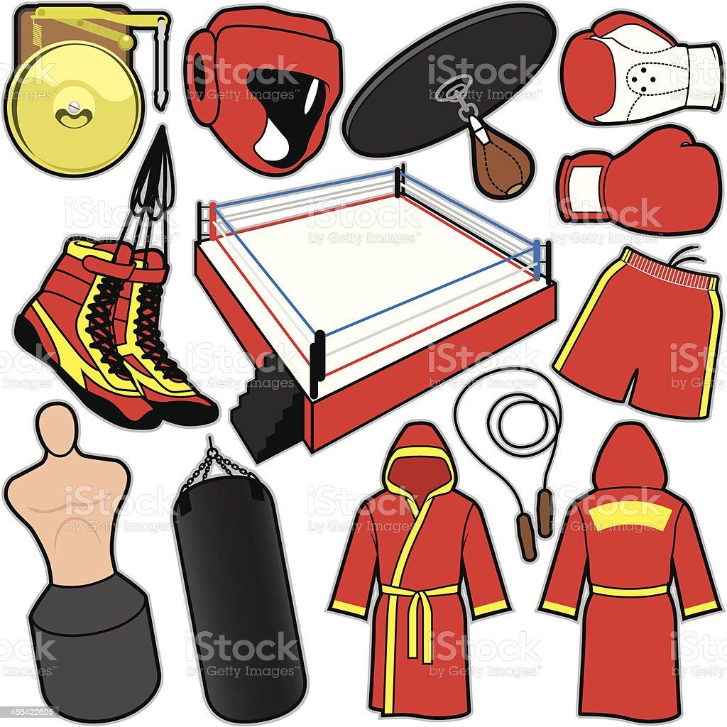Boxing Items vector art illustration
