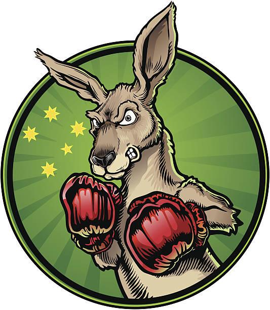 Boxing Kangaroo A cartoon of Jack the fighting kangaroo the national personification of Australia kangaroo stock illustrations