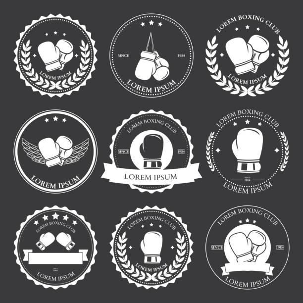 Boxing labels and badges set. Vector vector art illustration