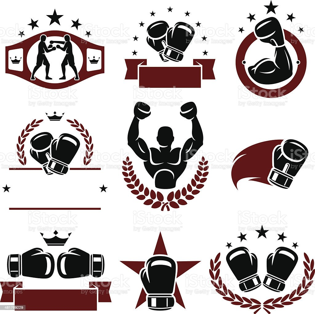 Boxing labels and icons set. Vector vector art illustration