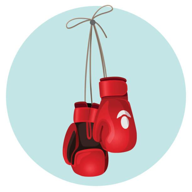 stockillustraties, clipart, cartoons en iconen met bokshandschoenen van leer in rode en zwarte kleur vectorillustratie - bokshandschoen