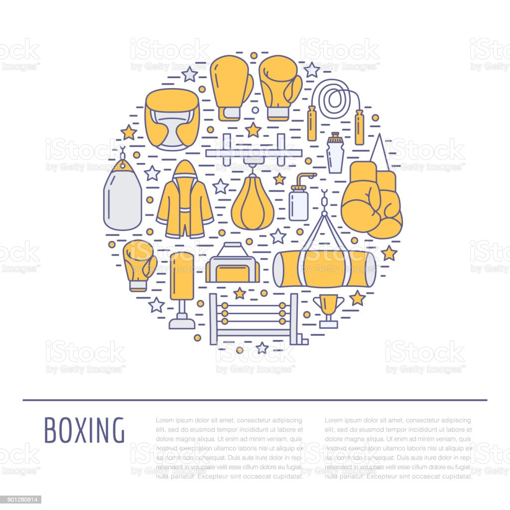 Boxing poster template. Vector sport training colored line icons, circle illustration of equipment - punchbag, boxer gloves, ring, heavy bags. Box club banner white background vector art illustration