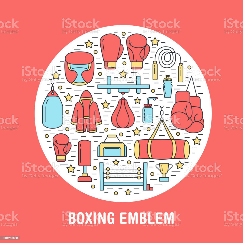 Boxing poster template. Vector sport training line icons, circle illustration of equipment - punchbag, boxer gloves, ring, heavy bags. Box club banner red background vector art illustration