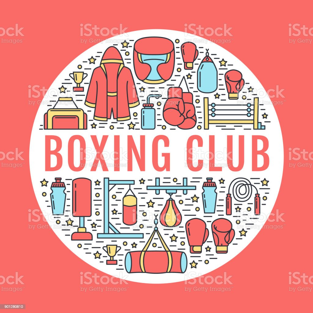 Boxing poster template. Vector sport training line icons, circle illustration of equipment - punchbag, boxer gloves, ring, heavy bags. Box club banner with place for text, red background vector art illustration