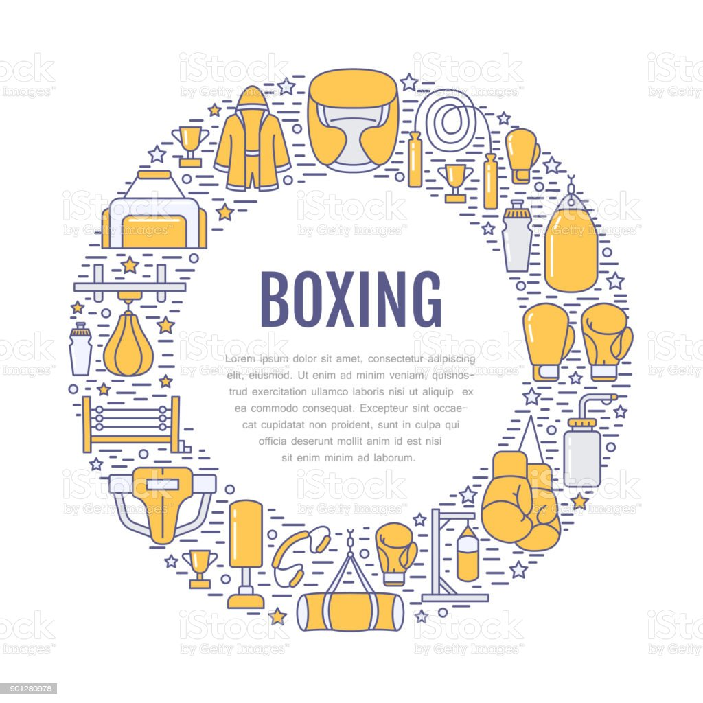 Boxing poster template. Vector sport training line icons, circle illustration of equipment - punchbag, boxer gloves, ring, heavy bags. Box club banner with place for text vector art illustration