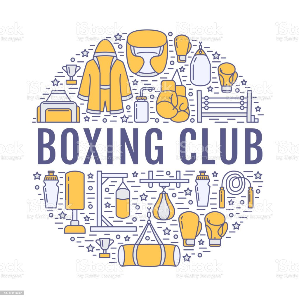 Boxing poster template. Vector sport training line icons, circle illustration of equipment - punchbag, boxer gloves, ring, heavy bags. Box club banner with place for text, white background vector art illustration
