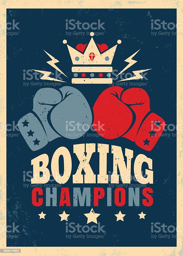 Boxing retro poster vector art illustration