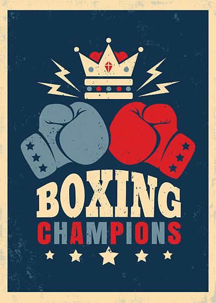 ilustraciones, imágenes clip art, dibujos animados e iconos de stock de boxing retro poster - boxeo deporte