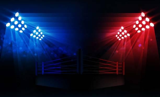 boxing ring arena and floodlights vector design bright stadium arena lights red blue. vector illumination - wrestling stock illustrations, clip art, cartoons, & icons