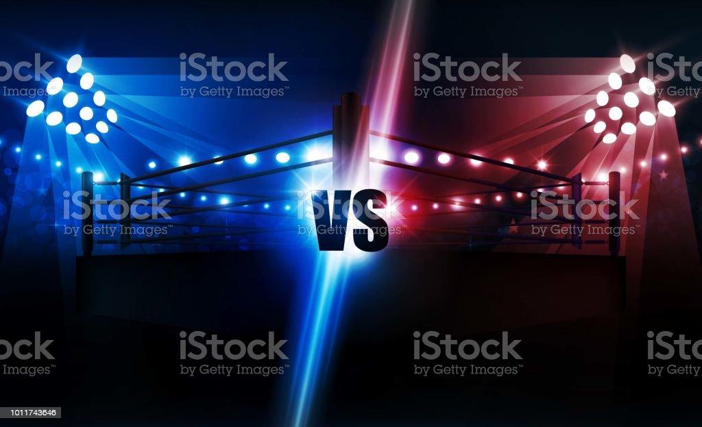 Boxing ring arena and floodlights vector design. Vector illumination vector art illustration