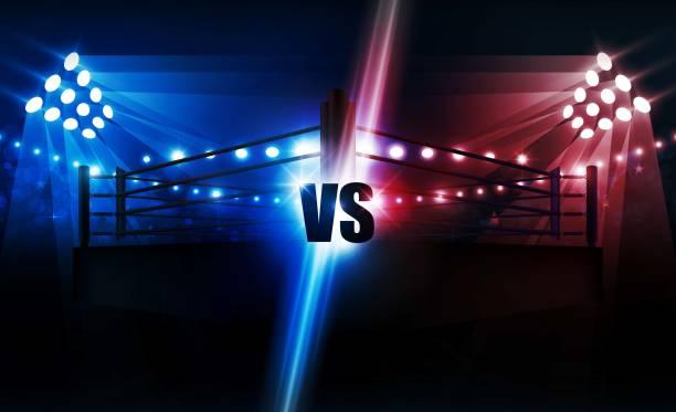 boxing ring arena and floodlights vector design. vector illumination - wrestling stock illustrations, clip art, cartoons, & icons