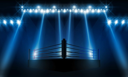 Boxing ring arena vs letters for sports and fight competition. Battle and match design. Vector illumination