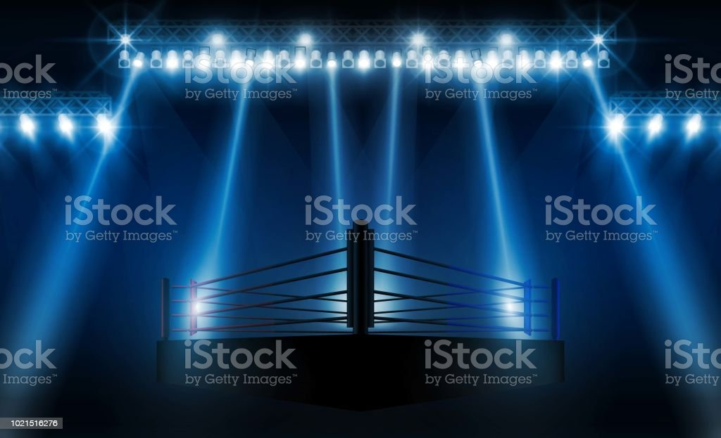 Boxing ring arena vs letters for sports and fight competition. Battle and match design. Vector illumination vector art illustration
