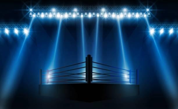 ilustraciones, imágenes clip art, dibujos animados e iconos de stock de boxeo anillo cartas de vs de arena para deportes y lucha contra la competencia. diseño de batalla y combate. iluminación de vector - lucha
