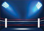 Boxing ring corner with spotlight