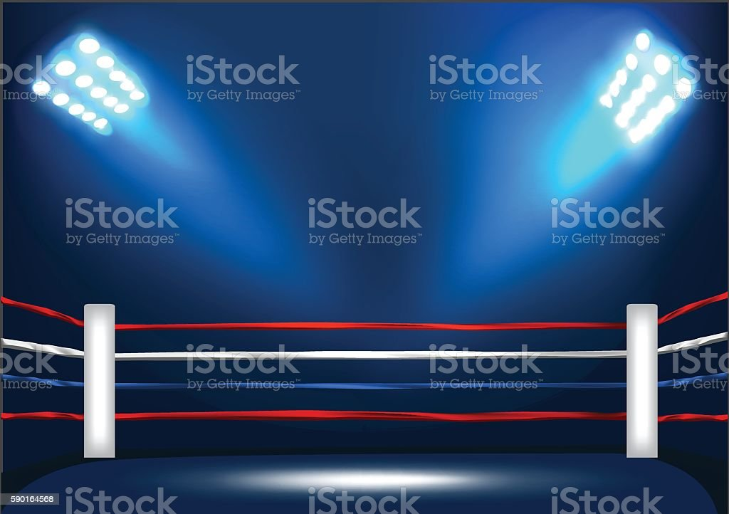 Boxing ring corner with spotlight vector art illustration
