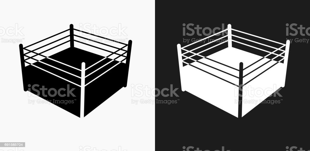 Boxing Ring Icon on Black and White Vector Backgrounds vector art illustration
