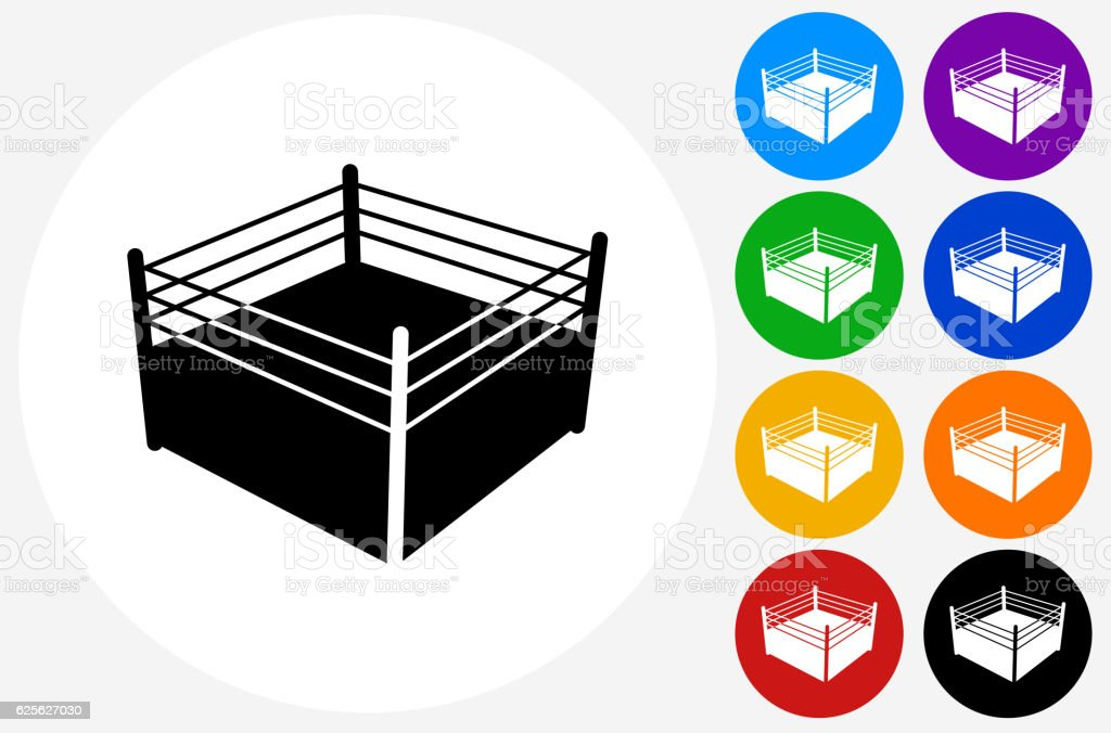Boxing Ring Icon on Flat Color Circle Buttons vector art illustration