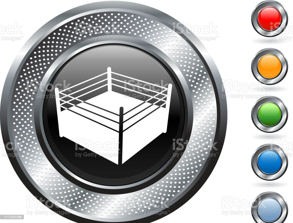 boxing ring royalty free vector art on metallic button royalty-free stock vector art