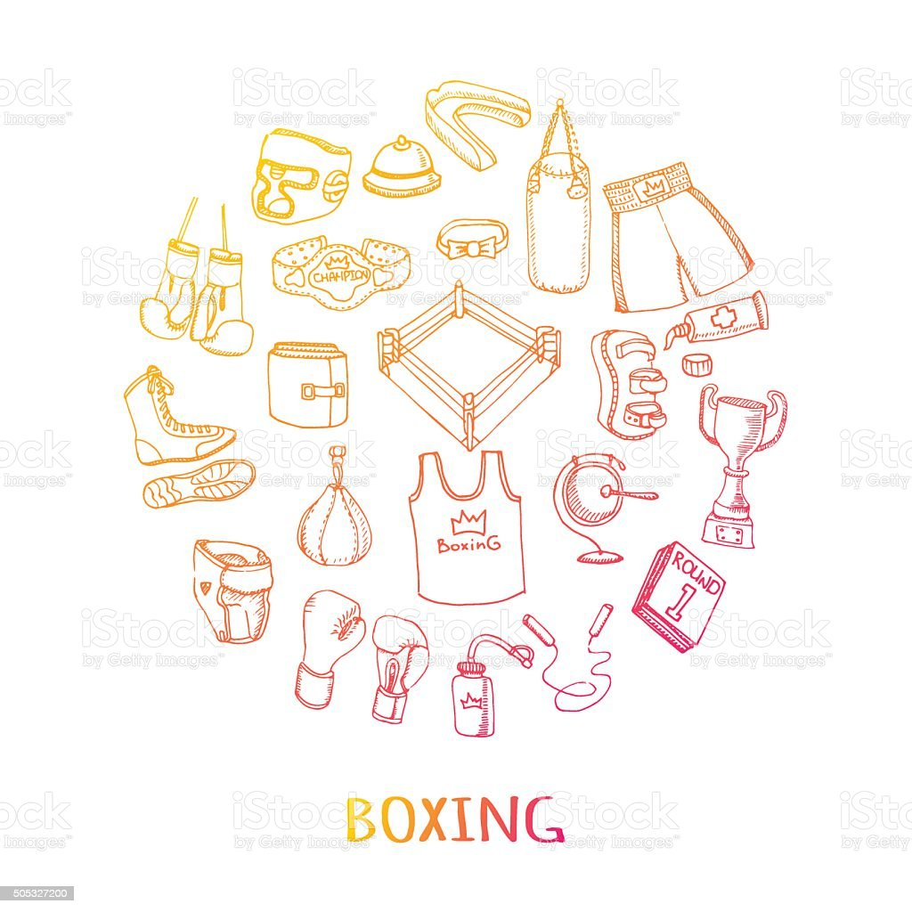 Boxing set vector art illustration