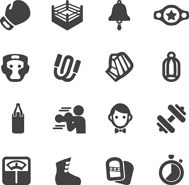 Boxing Silhouette Icons | EPS10 vector art illustration