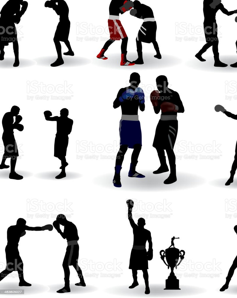 Boxing Silhouette vector art illustration
