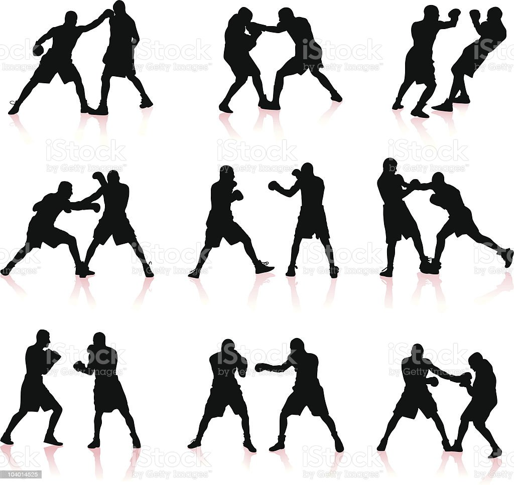 Boxing silhouettes vector art illustration